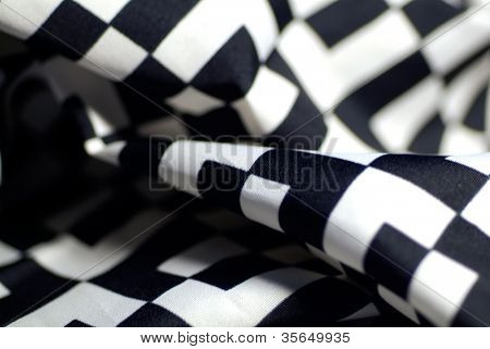 Fabric black-and-white checkered background