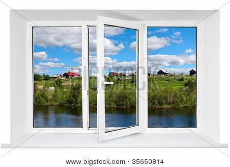 White Plastic Triple Door Window With Trunquil View Through Glass. Isolated On White Background. Ope