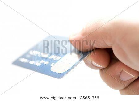 Hand hält Kreditkarten. kleine dof