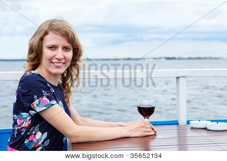 Lonely One Woman With Wineglass At Table