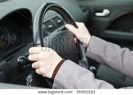 Right Hands Position On Steering Wheel During Driving A Car