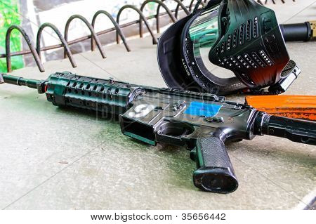Bb Gun And Magazine With Mask Protection For Face Safety.