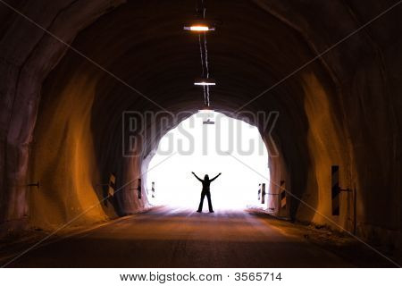 Silhouette In Tunnel