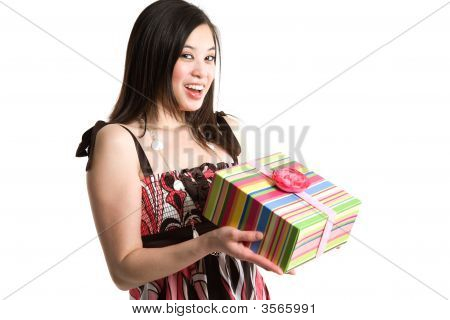 Asian Woman Holding A Gift Box