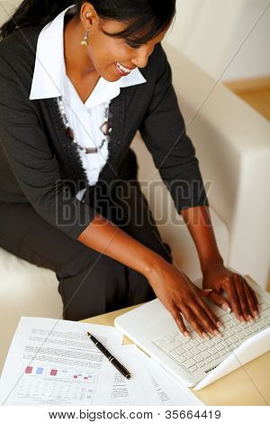 Attractive Businesswoman Working On Laptop