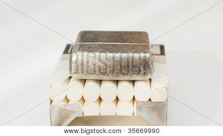 Lighter on the top of cigarettes.