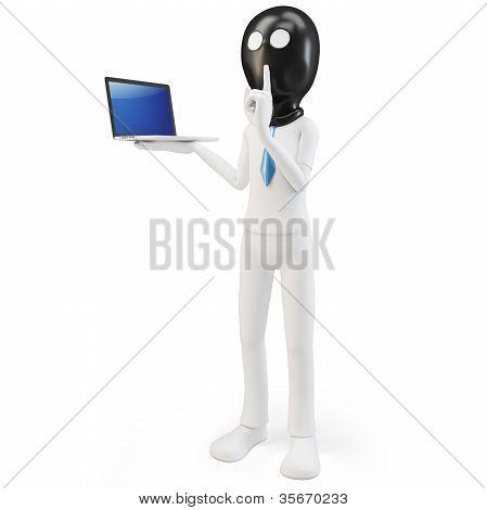 3D Man Hacker With Laptop