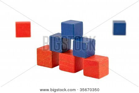 Pyramid Made Of Wooden Red Blue Color Toy Bricks