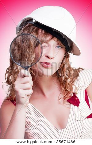 Attractive Female Building Inspector With Hardhat