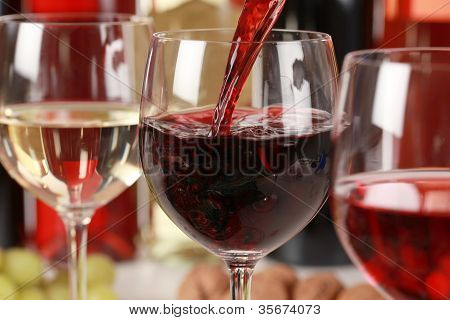 Wine Pouring Into A Wine Glass
