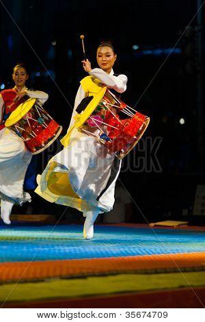 Korean Janggu Drum Show Jump Traditional Dress