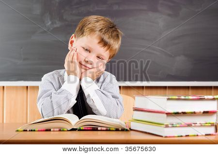 Tired  Boy With Books At The Desk