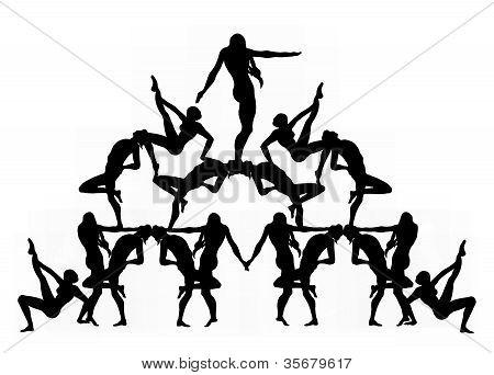 Human Pyramid Silhouette