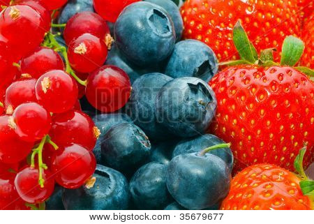 Currant, blueberry, strawberry - background