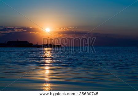 Beautiful decline on the sea