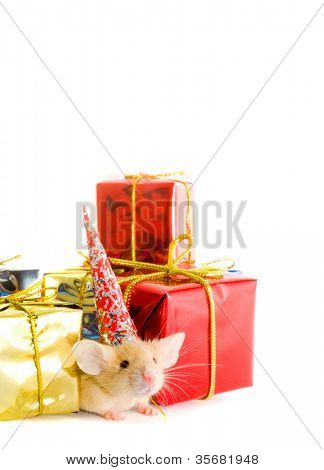 Boxes of gifts and a mousy in a cap. Isolation on white.