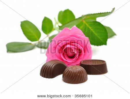 Pink roses and candy