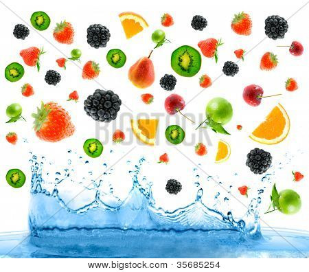 berry and fruit falling in juice. Isolation
