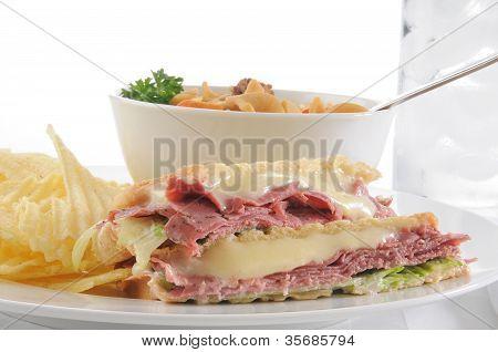 Pastrami Panini With Soup