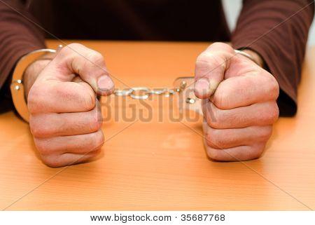 person in handcuffs. criminal,