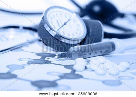 medical report and sphygmomanometer