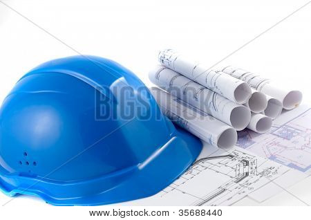 hard hat and working tools