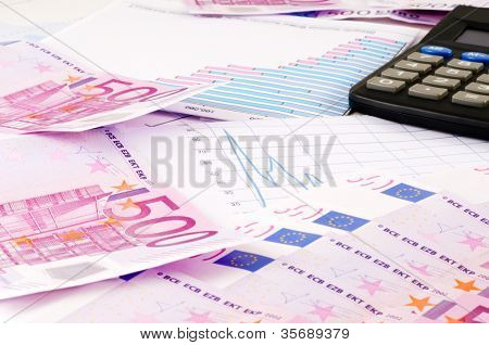 Banknotes of euro and diagram
