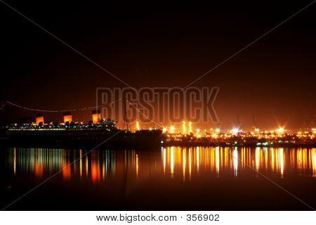 Queen Mary Kalifornien Nachtszene