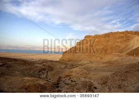Masada Fortress On Sunset