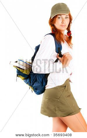 student  With a backpack and books