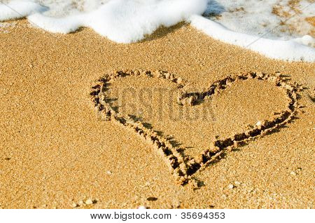 Seashore with surf line making heart shape