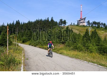 Cyclist In Mountain