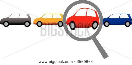 Magnifying Glass To Shop For Car Or Inspect Auto Row.Eps