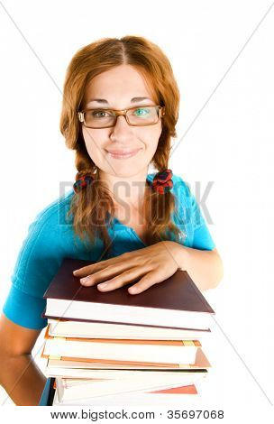 librarian with books. Isolation on the white
