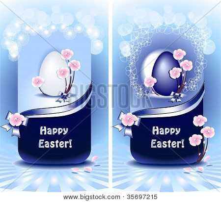Set Happy Easter in blue color