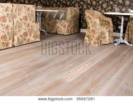 Restaurant interior.  parquet