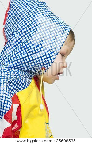 Little Blond Girl On Raincoat