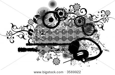Abstract Grunge Pattern With Headphones