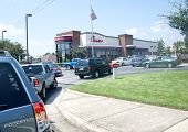 PENSACOLA, FL - AUGUST 1: Patrons line up at Chick-Fil-A restaurant in Pensacola, FL, on August 1, 2