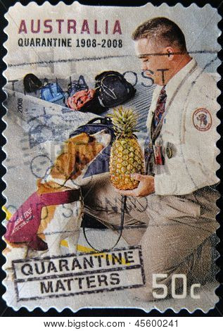 A stamp printed in Australia dedicated to the quarantine