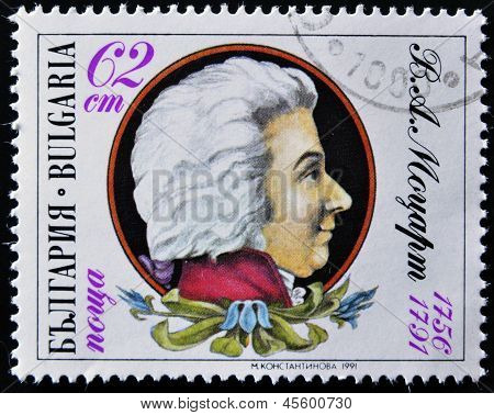 A stamp printed in Bulgaria shows Wolfgang Amadeus Mozart