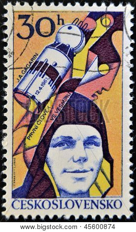 A stamp printed in Czechoslovakia shows Yuri Gagarin Soviet cosmonaut first man in space