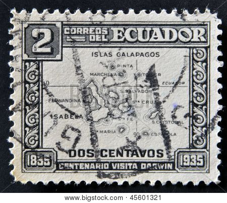 A stamp printed in Ecuador commemorating the centenary of Darwin's visit to the Galapagos Islands