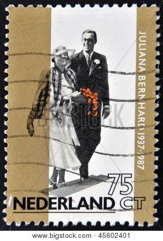 he golden jubilee of the wedding of Queen Juliana with Prince Bernhard von Lippe Biesterfeld in 1937