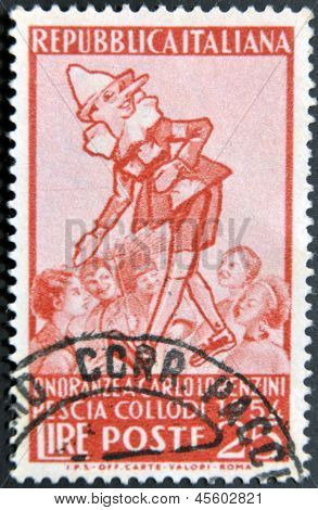 Italy - Circa 1954: A Stamp Printed In Italy Shows Pinocchio, Circa 1954
