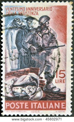 A stamp printed in Italy dedicated to 20th anniversary of the Italian resistance against fascism