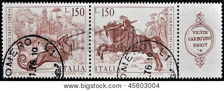 Um selo imprimido em Itália mostra St George, matando o dragão por Vittore Carpaccio