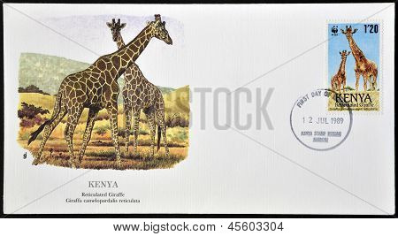 A stamp printed in Kenya shows reticulated giraffe circa 1989