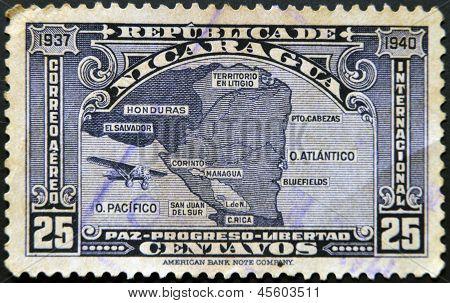 Nicaragua - Circa 1940: A Stamp Printed In Nicaragua Shows The Map Of Nicaragua, Circa 1940