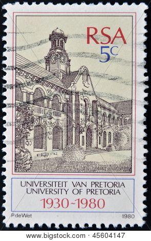 A stamp printed in RSA shows university of Pretoria